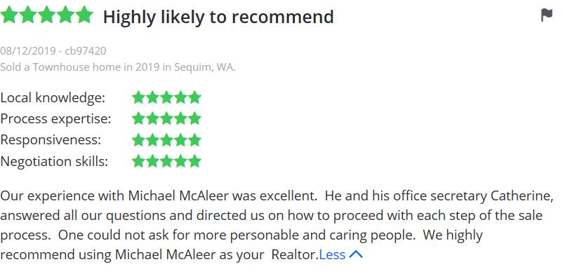 Our experience with Michael mcAleer was excellent